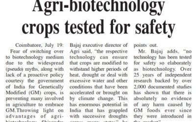 Agri-Biotechnology crops tested for safety