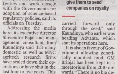 Importance of policy decisions on GM Crops