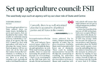 Set up agriculture council : FSII