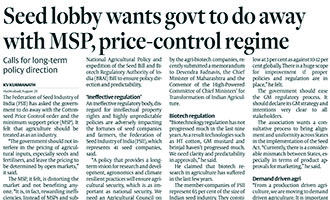 Seed lobby wants govt to do away with MSP, price-control regime